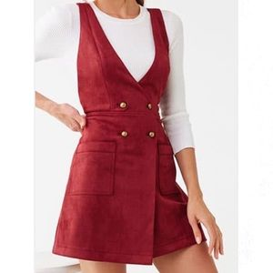 • FOREVER 21 • Burgundy Faux Suede Pinafore Dress